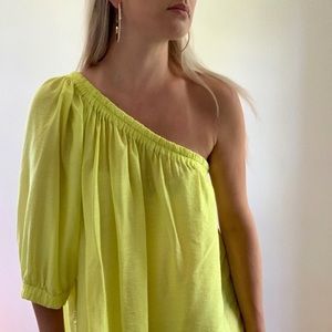 Anthropologie Canary Yellow Leonie 1 Shoulder Top